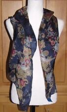NWT New JANIE BESNER for Nordstrom Floral 100% Silk Spring Scarf Navy Blue Pink