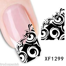 Nail Art Water Decals Transfers Black White Lace Swirls UV Tips Decoration 1299