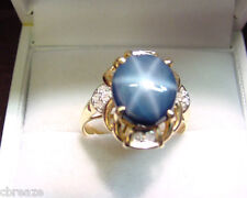 GENUINE BLUE STAR SAPPHIRE 4.68 CTS  and DIAMONDS 14K GOLD RING