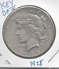 1928 Peace silver dollar  KEY DATE circulated 90% Silver US Coin GREAT detail!