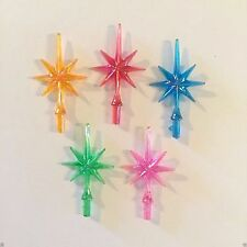 5 AURORA TINY SNOWFLAKE STARS 5 COLORS Vintage Ceramic Christmas Tree Lights NEW