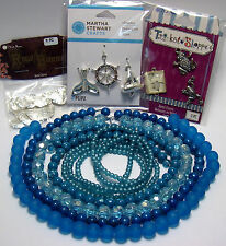 WHOLESALE JEWELRY SUPPLIES BEADS-PENDANTS LOT~AQUA GLASS~SEA-OCEAN-POND~CHARMS