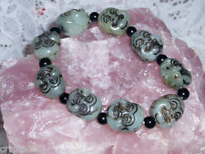 """Gorgeous CHINESE """"BUDDA FACE"""" JADE Stretch Bracelet in Shades of Green  NEW"""