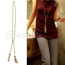 Womens Rhinestone Gold Plated Alloy Tassel Pendant Long Chain Sweater Necklace