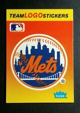 NEW YORK METS TEAM LOGO ORANGE TOP 10 FLEER BASEBALL TRADING CARD STICKER
