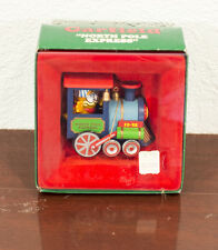 1985 GARFIELD NORTH POLE EXPRESS WIND-UP TOY TRAIN CHRISTMAS ORNAMENT MIB