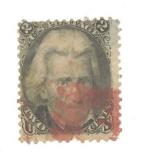 Scott 73 Early US Stamp 2c Jackson ...1861-66..Deep Red Cancel   No Grill