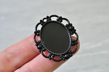 8pcs 20x28mm Pad Black Plated Oval Base Setting Cameo Charm Pendant Cabochon