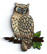 OWL - BIRD - PERCHED ON A BRANCH - FULLY EMBROIDERED IRON ON PATCH