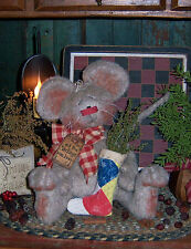 Primitive Mouse with Old Quilt Stocking Patti's Ratties Paper Pattern #243