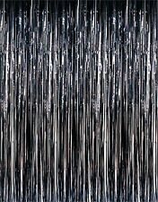 Black Metallic Fringe Curtain Party Room Decor 3' x 8'