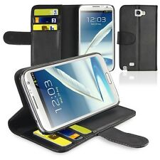 Black Flip Wallet Leather Case Cover Stand For Samsung Galaxy Note 2 II N7100