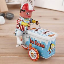 Vintage Metal Tin Ice Cream Car Clockwork Wind Up Tin Toy Collectible UL