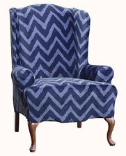 Sure fit slip cover slipcover Stretch Plush Blue Chevron wing chair