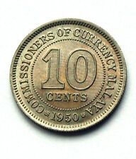 1950 MALAYA George VI Coin - 10 Cents - premium toned lustre