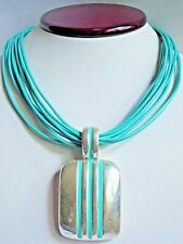 SSD Simon Sebbag Multi Strand Turquoise Leather Sterling Silver Pendant Necklace