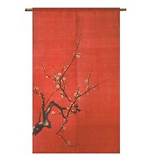New Japanese curtain hemp NOREN Kyoto goodwill Plum vermilion red From Japan