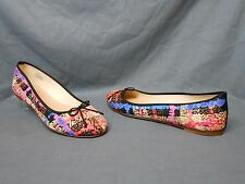 J. Crew Classic Printed Ballet Flats Fabric Sweet Orange Womens Size 8.5 NEW!