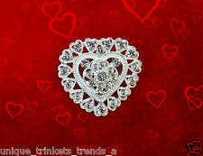 VINTAGE STYLE VALENTINES DAY HEART RHINESTONE CRYSTAL SILVER BROOCH PIN GIFT