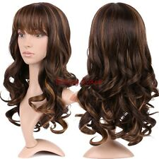 Real Long Synthetic Hair Wig Ombre Two Tone Full Wigs For Costume Cosplay by8d