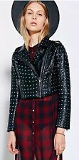 Pins and Needles Allover Studded Moto Faux Leather Jacket-XSl