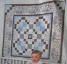 "Baby Steps Flannel Quilt Fabric Kit - 54"" x 54"" using RJR Baobab Flannels Blue"
