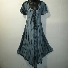 Dress Fits 1X 2X Plus Long Sundress Black Tie Dye Lace Sleeves A Shaped NWT 7601