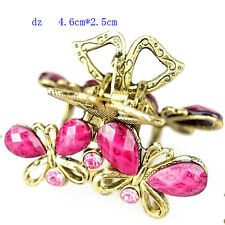 t640290 Rose Butterfly Fashion Rhinestone Hair Crab Clamp Claws Clip Hair Pin
