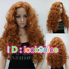 Fashion Sexy Ladies Long Orange Brown Cosplay Party Curly Wigs & Free wig cap
