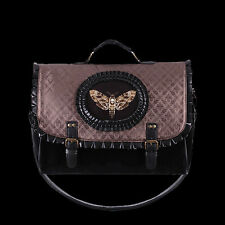 RESTYLE BROWN MOTH CAMEO SATCHEL W/ FRILL. STEAMPUNK. VICTORIAN GOTHIC HANDBAG.