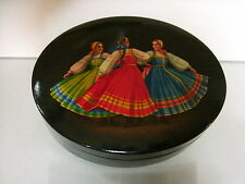 Russian Fedoskino oval box dancing girls  d.1965 signed similar $438