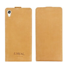Ezreal Handmade Genuine Real Leather Case Flip Cover for Sony Xperia Z2 Brown