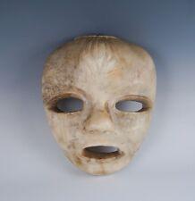 Unusual Estate Found c1900 Carved Alabaster Face Mask Hanging Sculpture