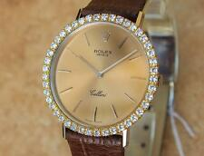 Rolex Geneve Cellini 18K Solid Gold 1980s Diamond Bezel Manual Hand Wind SIW144