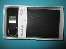 NEW Calvin Klein CK WALLET BIFOLD ID Key Fob Set REAL LEATHER Black