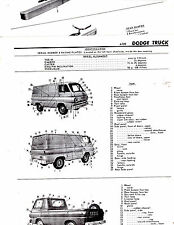 DODGE TRUCKS A100 MOTOR'S ORIGINAL BODY PARTS LIST CRASH SHEETS M