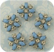 2 Hole Beads Flowers X Shape Periwinkle w/Clear Swarovski Crystal Elements~ 5 pc