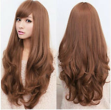 New Fashion Womens Lady Wavy Curly Light Brown Long Cosplay Party Hair Full Wigs