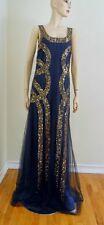 $5990 New CAROLINA HERRERA Navy Blue Organza Silk Beaded Gown Dress Sz.10
