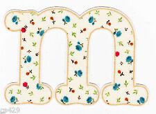 """3.5"""" PRETTY FLOWER  ALPHABET ABC'S LETTER M MONAGRAM   FABRIC APPLIQUE IRON ON"""