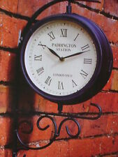 NEW WALL VINTAGE DUAL FACE OUTSIDE GARDEN WALL STATION CLOCK NW15 STATION