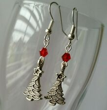 Christmas Tree Earrings Red Bead Dangle Jewelry Antique Silver Us seller