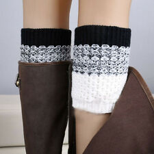 Winter Fashion Women Crochet Knitted Boot Cuffs Toppers Leg Warmers Socks