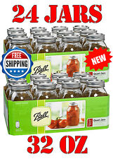 32oz Ball Regular Mouth Mason Canning Jars Lids Quart Preserves, 24 JARS/LOT