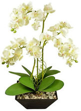 Deko ARRANGEMENT Kunstpflanze Kunstblume Orchidee weiß 50cm Topf schwarz 3Zweige
