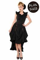 Banned Apparel Black Party Dress Long Gothic Victorian Steampunk PLUS SIZE 18 20