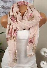 Seidenschal Seide HALSTUCH Schal Rosé Rosa BLUMEN Tuch EDEL LUXUS Italy Cotton