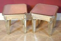 Pair Mirrored Coffee Side Tables Table Mirror Furniture