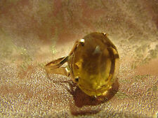 ancienne bague or massif 18 carats poincon tete d' aigle cabochon citrine 1950