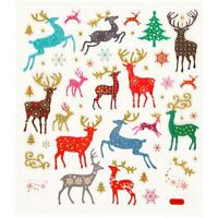 Christmas Reindeers Colourful Glitter Stickers 15cm Embellishments Sheet Craft